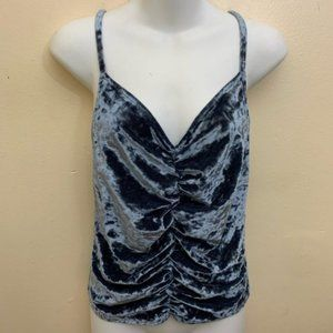 Urban Outfitters Velvet Cami Crop Blue Top Large